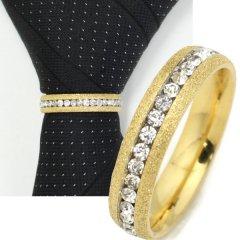 名入れ刻印サービス対象/ネクタイリング・ラメゴールド×クリアストーンのゴージャスなタイリング(スカーフ留)