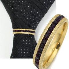 名入れ刻印サービス対象/ネクタイリング・ラメゴールド×ブラックストーンのゴージャスなタイリング(スカーフ留)