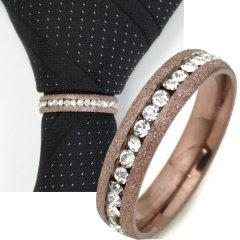 名入れ刻印サービス対象/ネクタイリング・ラメブロンズゴールド×クリアストーンのゴージャスなタイリング(スカーフ留)