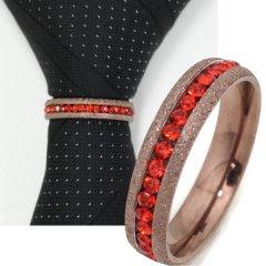 名入れ刻印サービス対象/ネクタイリング・ラメブロンズゴールド×レッドストーンのゴージャスなタイリング(スカーフ留)