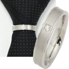 ネクタイリング・マットシルバー×一粒クリアストーンのタイリング(スカーフ留)