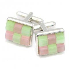 ピンク×グリーン・キャッツアイ・チェックブロックのカフス(カフリンクス/カフスボタン)