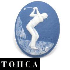 【陶華・TOHCA】数量限定オーバル・ブルー・ゴルファーのタイタック(ピンブローチ)