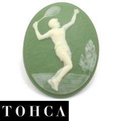【陶華・TOHCA】数量限定・オーバル・グリーン・テニスプレイヤーのタイタック(ピンブローチ)