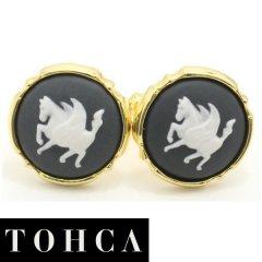 【陶華・TOHCA】ゴールド・ラウンド・ペガサスカメオ・グレーのカフス(カフリンクス/カフスボタン)