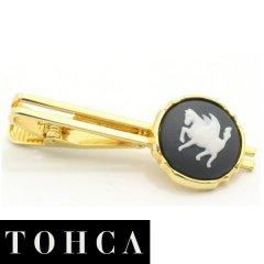 【陶華・TOHCA】ゴールド・ラウンド・ペガサスカメオ・グレーのタイピン(ネクタイピン)