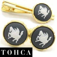 【陶華・TOHCA】ゴールド・ラウンド・ペガサスカメオ・グレーのカフスセット(タイピンセット)