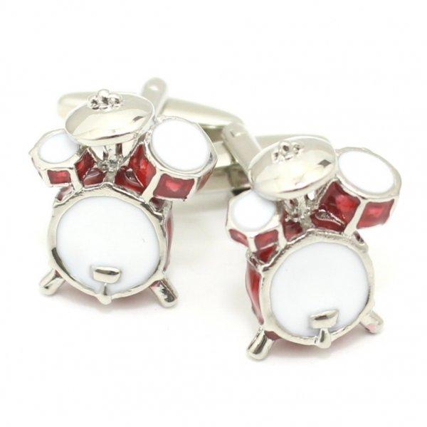 音楽好き・ドラマーさん喜ぶレッドドラムセットのカフス(カフリンクス/カフスボタン)