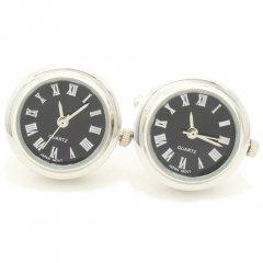 ブラック・ラウンド時計のカフス(カフリンクス/カフスボタン)
