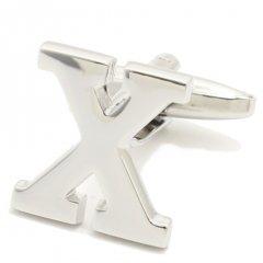 【バラ売り】シルバー・アルファベット【X】カフス(カフリンクス/カフスボタン)