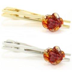 全2色・ムラーノ・ベネチアンガラス・薔薇ローズ・クリアレッドのタイピン(ネクタイピン)