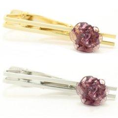 全2色・ムラーノ・ベネチアンガラス・薔薇ローズ・クリアパープルのタイピン(ネクタイピン)
