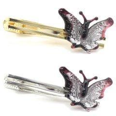 全2色・ムラーノ・ベネチアンガラス・蝶バタフライ・シルバーのタイピン(ネクタイピン)