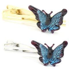 全2色・ムラーノ・ベネチアンガラス・蝶バタフライ・アクアのタイピン(ネクタイピン)
