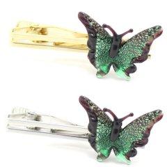 全2色・ムラーノ・ベネチアンガラス・蝶バタフライ・グリーンのタイピン(ネクタイピン)