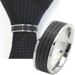 ネクタイリング・ブラック・ラメ・ラインのタイリング(スカーフリング)