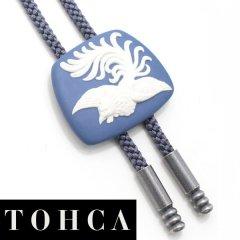 【陶華・TOHCA】台形・鳳凰フェニックス・ブルーのループタイ(ポーラー・タイ)