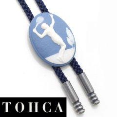 【陶華・TOHCA】オーバル・テニスプレイヤー・ブルーのループタイ(ポーラー・タイ)