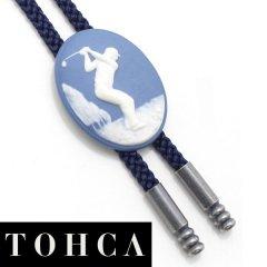 【陶華・TOHCA】オーバル・ゴルファー・ブルーのループタイ(ポーラー・タイ)