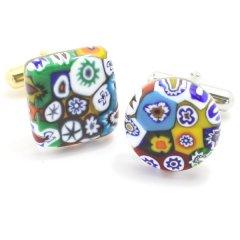 全4種・ムラーノ・ベネチアンガラス・モザイク・ムッリーネ・マットのカフス(カフスボタン/カフリンクス)