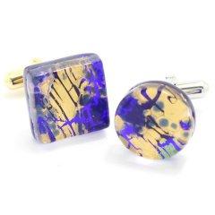 全4種・ムラーノ・ベネチアンガラス・ゴールド×ブルーのカフス(カフスボタン/カフリンクス)