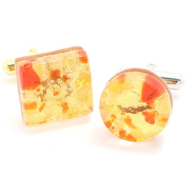 全4種・ムラーノ・ベネチアンガラス・ゴールド×オレンジのカフス(カフスボタン/カフリンクス)