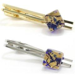 全4種・ムラーノ・ベネチアンガラス・ゴールド×ブルーのタイピン(ネクタイピン)