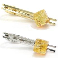全4種・ムラーノ・ベネチアンガラス・ゴールド×イエローのタイピン(ネクタイピン)