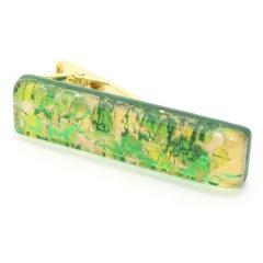 ムラーノ・ベネチアンガラス・ゴールド×グリーン・ビッグのタイピン(ネクタイピン)