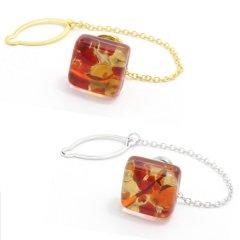 全2色・ムラーノ・ベネチアンガラス・ゴールド×レッドのタイタック(ピンブローチ)