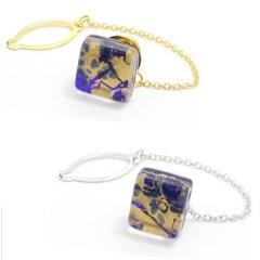 全2色・ムラーノ・ベネチアンガラス・ゴールド×ブルーのタイタック(ピンブローチ)