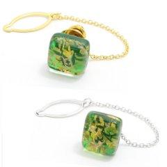 全2色・ムラーノ・ベネチアンガラス・ゴールド×グリーンのタイタック(ピンブローチ)