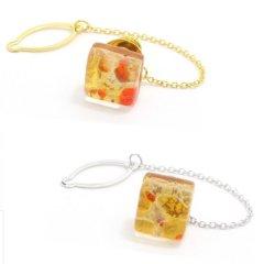 全2色・ムラーノ・ベネチアンガラス・ゴールド×オレンジのタイタック(ピンブローチ)
