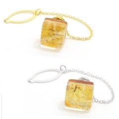 全2色・ムラーノ・ベネチアンガラス・ゴールド×イエローのタイタック(ピンブローチ)