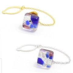 全2色・ムラーノ・ベネチアンガラス・パープル×ブルーのタイタック(ピンブローチ)