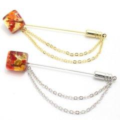 全4種・ムラーノ・ベネチアンガラス・ゴールド×レッドのラペルピン(ラペルブローチ)