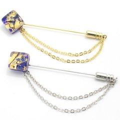 全4種・ムラーノ・ベネチアンガラス・ゴールド×ブルーのラペルピン(ラペルブローチ)