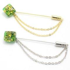 全4種・ムラーノ・ベネチアンガラス・ゴールド×グリーンのラペルピン(ラペルブローチ)