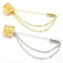 全4種・ムラーノ・ベネチアンガラス・ゴールド×イエローのラペルピン(ラペルブローチ)