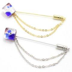 全4種・ムラーノ・ベネチアンガラス・パープル×ブルーのラペルピン(ラペルブローチ)