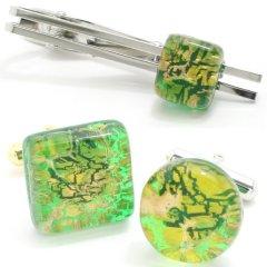 全4種・ムラーノ・ベネチアンガラス・ゴールド×グリーンのカフスセット(タイピンセット)