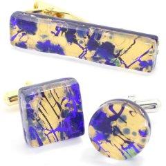 全2種・ムラーノ・ベネチアンガラス・ゴールド×ブルー・ビッグのカフスセット(タイピンセット)
