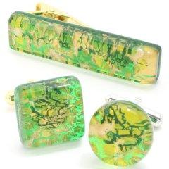 全2種・ムラーノ・ベネチアンガラス・ゴールド×グリーン・ビッグのカフスセット(タイピンセット)