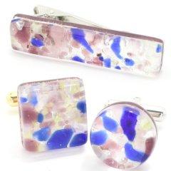 全2種・ムラーノ・ベネチアンガラス・パープル×ブルー・ビッグのカフスセット(タイピンセット)
