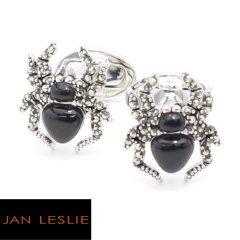 【JanLeslie】シルバー・ブラックオニキス・蜘蛛のカフス(カフリンクス/カフスボタン)