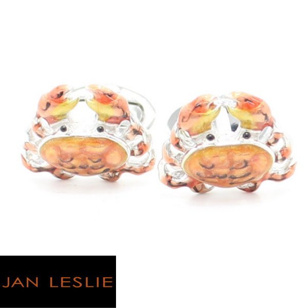 【JanLeslie】シルバー・オレンジグラデーション・蟹のカフス(カフリンクス/カフスボタン)