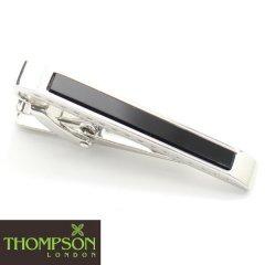 【Thompson London】ブラックめのう・Dシェイプのタイピン(ネクタイピン)