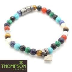 【Thompson London】ガンメタル・8種の天然石ブレスレット(ブレスレット)