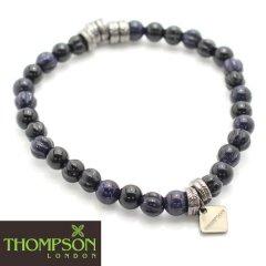 【Thompson London】ガンメタル・オニキス・ブルーゴールドストーンの天然石ブレスレット(ブレスレット)