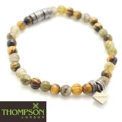 【Thompson London】ガンメタル・タイガーアイ・ラブラドライトの天然石ブレスレット(ブレスレット)